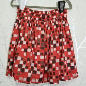 Banana Republic Red Geometric Print A-Line Skirt